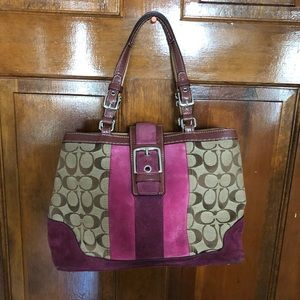 Coach pink and purple suede and canvas satchel